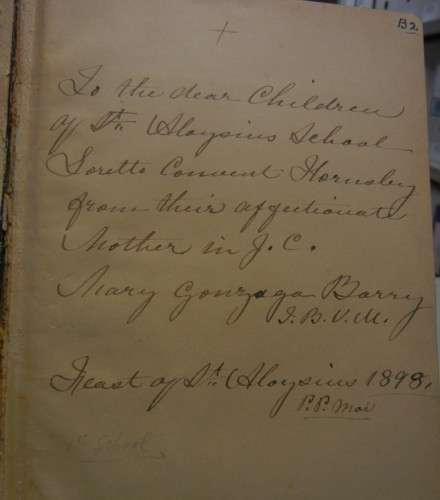 Books belonging to M. Gonzaga Barry