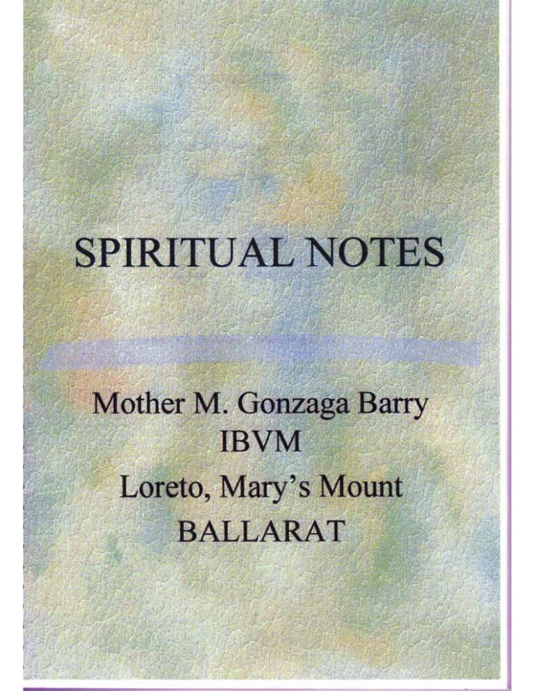 Spiritual Notes of Mother Gonzaga Barry